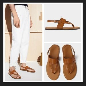 Zara Chestnut Cross Strap Sandals